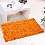 Indoor Doormat Non-slip & Water-absorbent Chenille Microfiber Floor Bath Mat Carpet Entrance Rug for Bedroom,Sitting Room and Bathroom 15.7''x 23.6'' Orange