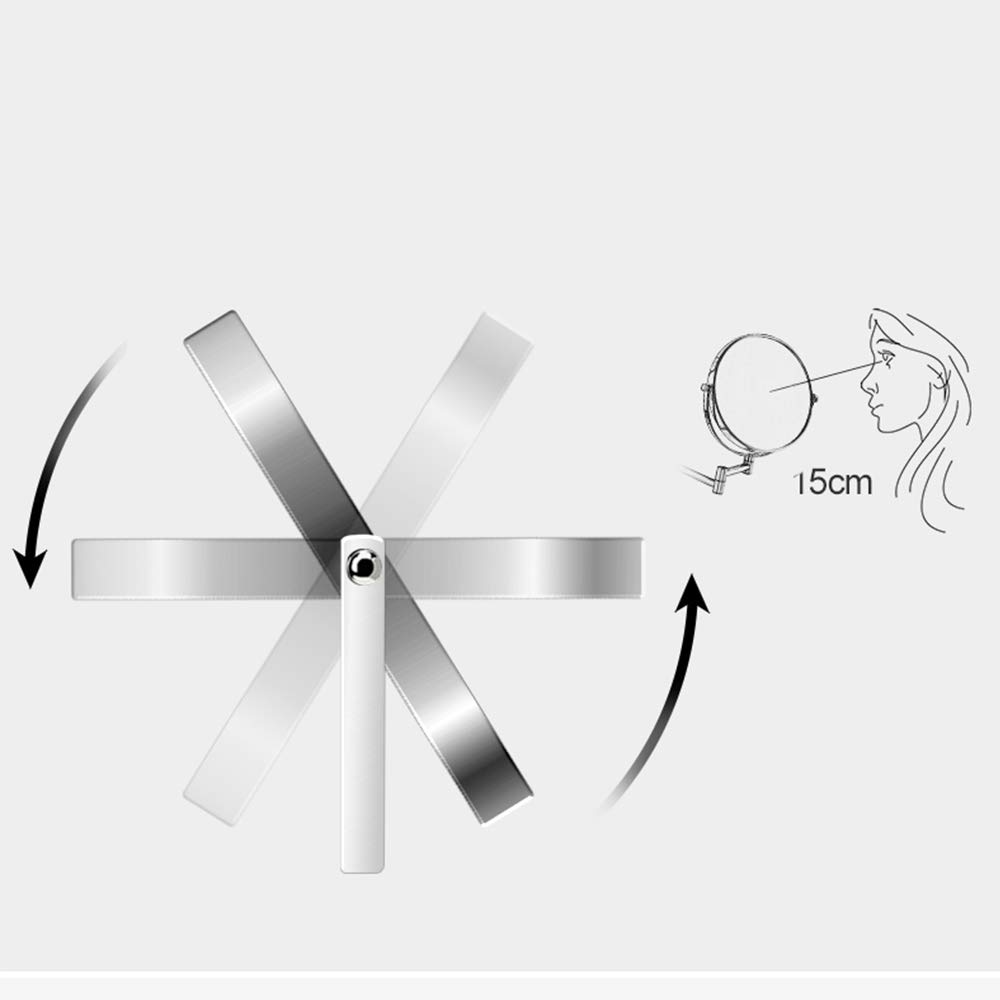 CWHALE Specchio per Trucco a Parete a LED Lente dIngrandimento Pieghevole a Doppia Faccia Specchio da Bagno Rotante da 360 Gradi