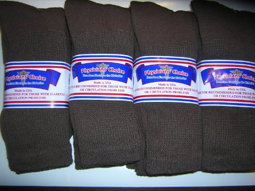 UPC 858191002996, 12 Pair Diabetic Socks,plus size 13-15 Mens Brown CREW LENGTH,Physicians Choice