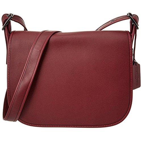 COACH Women's Gloveton Leather Saddle Bag DK/Burgundy Cross Body