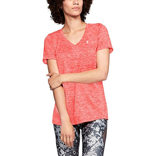 Under Armour Women's Tech Twist V-Neck, After Burn (878)/Metallic Silver, X-Small by Under Armour (Image #1)