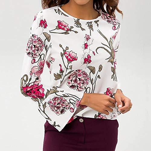 ❤ Blusa Chiffon Mujer, Camiseta con Estampado Floral de Manga Larga con Estampado Floral y o-Cuello Absolute: Amazon.es: Ropa y accesorios