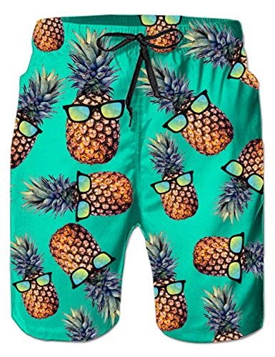 Goodstoworld Pineapple Men Swim Shorts Casual Cool Hawaiian Tropical Swim Trunk Funny Casual Holiday Party Summer Beachwear 3XL