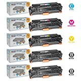 LD © Remanufactured Replacement for Hewlett Packard (HP) Color LaserJet CM2320 Set of 5 Color Toner Cartridges: 2 CC530A Black and 1 of each CC531A Cyan, CC533A Magenta, and CC532A Yellow for use in the LaserJet CM2320fxi, CM2320n, CM2320nf, CP2025dn, CP2025n and CP2025x Printers, Office Central