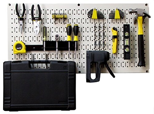 (Wall Control Modular Pegboard Tool Organizer System - Wall-Mounted Metal Peg Board Tool Storage Unit for Pegboard Tiling (Beige Pegboard))