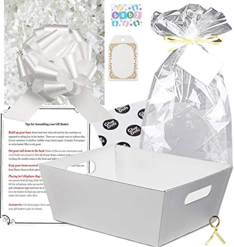 Gift Basket Making Kit Do It Yourself DIY Build Your Own Gift Basket Matching Supplies Market Tray Basket Cellophane Bag Shredded Crinkle Paper Ribbon Pull Bow (White, X-Large)