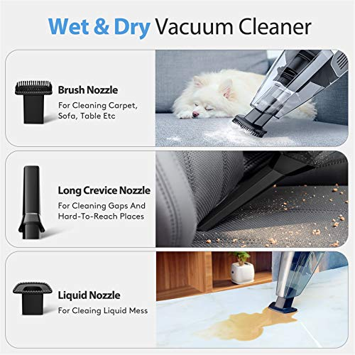 Holife Handheld Vacuum Cordless Cleaner Rechargeable, 7Kpa 14.8V Portable Powerful Cyclonic Suction Hand Vacuum Quick Charge, Lightweight Wet Dry Vac with HEPA Filter for Home Pet Hair Car Cleaning