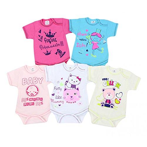 Baby Kurzarm-Body mit Aufdruck und Spruch Babybody Baumwolle Mädchen Bodys Jungen im 5er Set , Farbe: Mädchen, Größe: 56