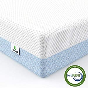 Dourxi Crib Mattress, Dual Sided Comfort Memory Foam Toddler Bed Mattress, Triple-Layer Breathable Premium Baby Mattress for Infant and Toddler w/Removable Outer Cover - White&Blue 8