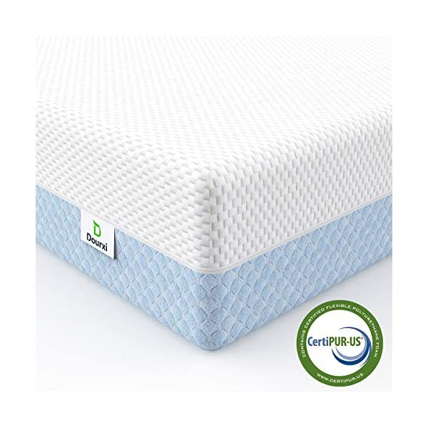 Dourxi Crib Mattress, Dual Sided Comfort Memory Foam Toddler Bed Mattress, Triple-Layer Breathable Premium Baby Mattress for Infant and Toddler w/Removable Outer Cover - White&Blue 1