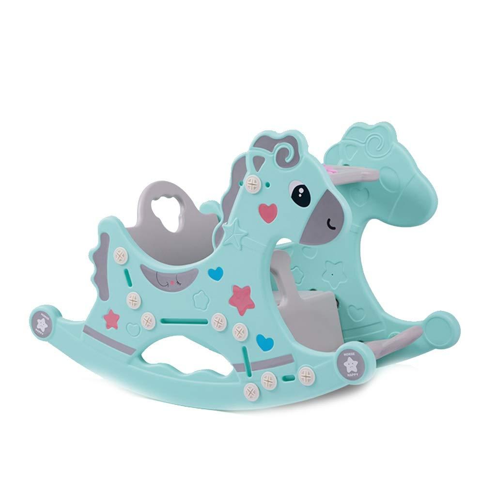 Blau Schaukelstuhl YY Indoor-Schaukelpferd für Kinder mit Musikspielzeugsitz (Farbe   Blau)