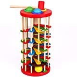 XJG Wood Knocked the Ball Off the Ladder Wooden Educational Toys