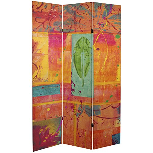 ORIENTAL Furniture Tall Double Sided Tangerine Dream Canvas Room Divider, 6'/2' x 3'