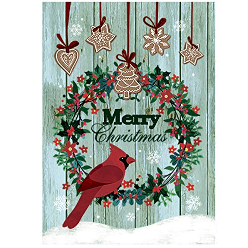 Morigins Merry Christmas Wreath Yard Flag Double Sided Decorative Cardinals Winter House Flag 28x40 inch