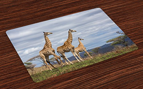 Giraffe Table (Ambesonne Africa Place Mats Set of 4, African Giraffe Family Looking at The Skyline in Savannah Grassland with Shrubs Print, Washable Fabric Placemats for Dining Room Kitchen Table Decor, Tan Blue)