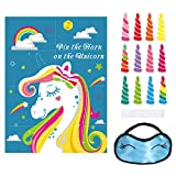 Unomor Pin The Horn On The Unicorn Party Game for Kids Girls Party Games Supplies, Unicorn Birthday Party Supplies Include Large Unicorn Poster (28*21inch), 24 Sticker Horns and Blindfold
