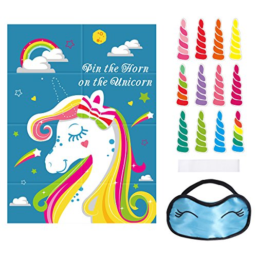 Unomor Pin The Horn On The Unicorn Party Game for Unicorn Party Supplies, 24 Horns, Unicorn Poster (28inchX20.9inch) and (Supply On)