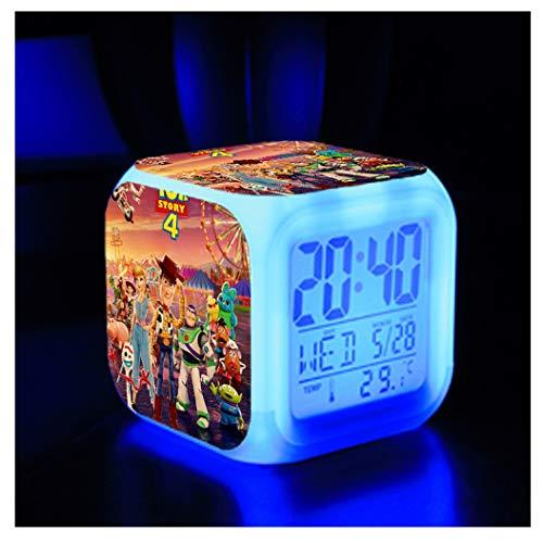 ZhangXF Toy Story 4 Alarm Clock, Super Stylish 3D Stereo LED Night Light Electronic Alarm Clock Bedside Bedroom Birthday Gift (Seven - Story Toy Clock Alarm