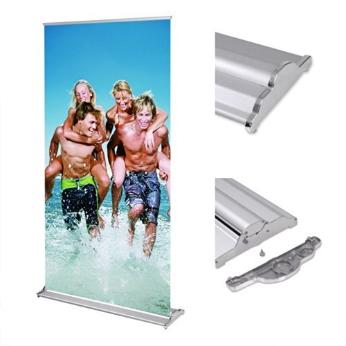 Deluxe 33x79 Retractable Banner Stand Roll up Trade Show Signage w/ Wide Base Aluminum Structure by Yescom by Yescom