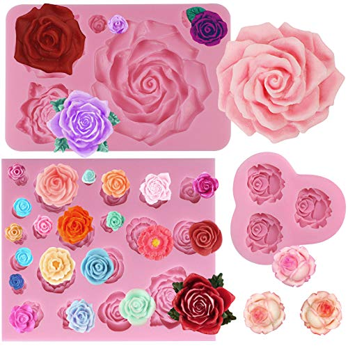 FUNSHOWCASE Assorted Sizes Roses Fondant Candy Silicone Mold for Sugarcraft Cake Decoration, Cupcake Topper, Polymer Clay, Soap Wax Making Crafting Projects, 3 Count