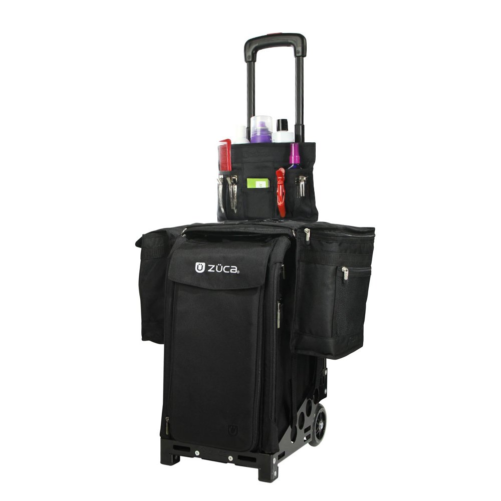 Zuca Pro Artist Case (Black) with 5 Utility Pouches and Stylist Kit: Beauty Caddy & Stylist Pouch