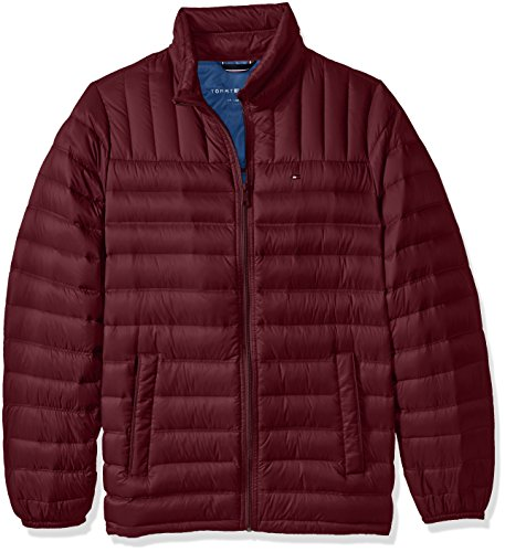 Tommy Hilfiger Men's Tall Size Packable Down Jacket, Merlot, XL Long Ta