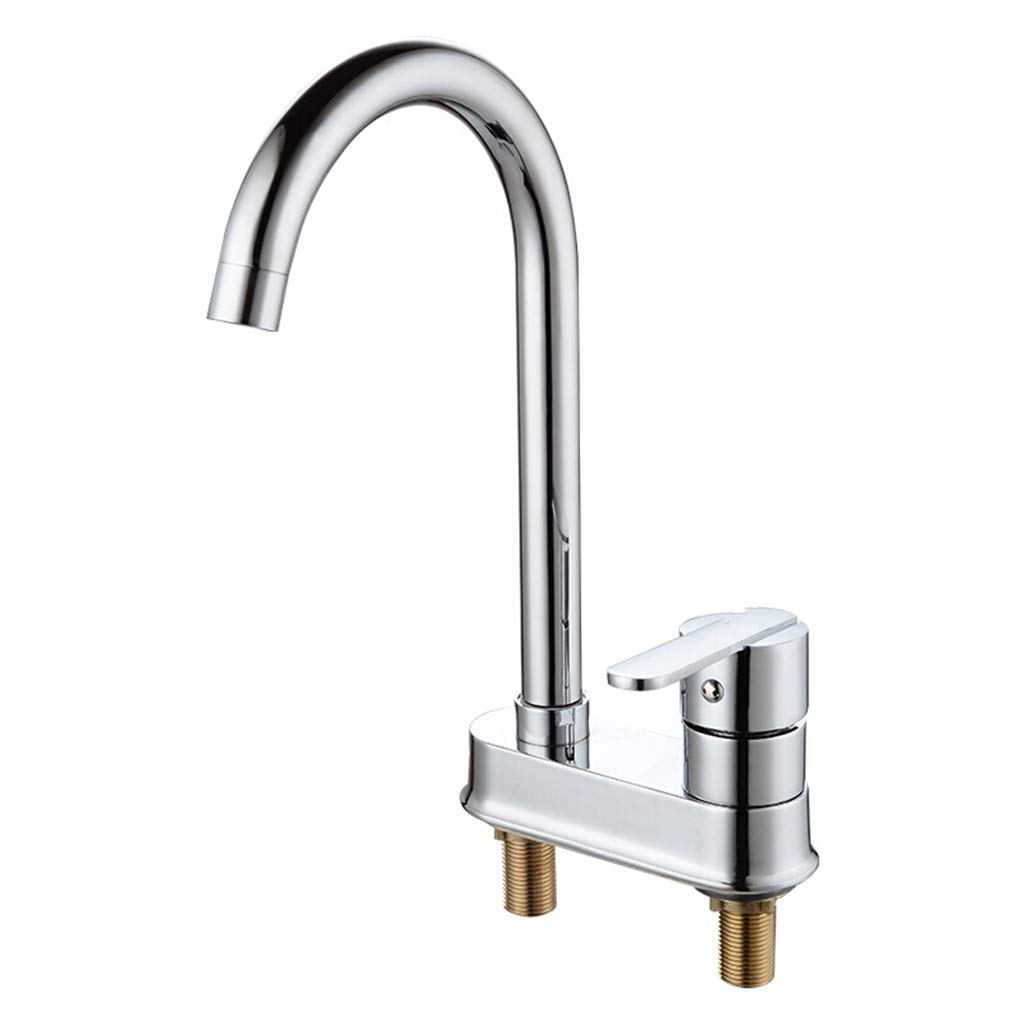 Yxx max Kitchen Faucet Single Handle Double Hole Hot and Cold 360 Degree Basin Faucet