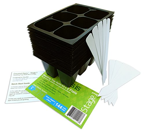 $6.75 144 Cells Seedling Starter Trays, 10 Plant Labels and Quick Start Guide, MADE IN USA, Refill Kit, (2 Flats: 24 Trays; 6-cells Per Tray, MEDIUM Size); STAGE 1 by Coconut Oasis 2019