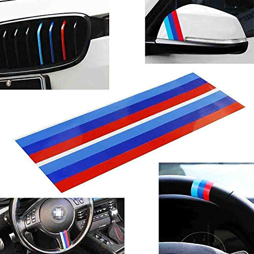 iJDMTOY (2) M-Colored Stripe Decal Sticker Compatible With BMW Exterior or Interior Decoration Such As Grille Fender Hood Side Skirt Bumper Side Mirror Dashboard Steering Wheel, etc