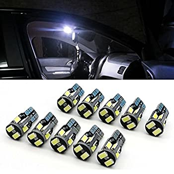 BAILONGJU Super Bright T10 194 168 175 2825 W5W led canbus 10X5630 Chipset LED Bulbs for Car Interior Dome Map Door Courtesy License Plate Lights Compact Wedge Xenon White(Pack of 10)