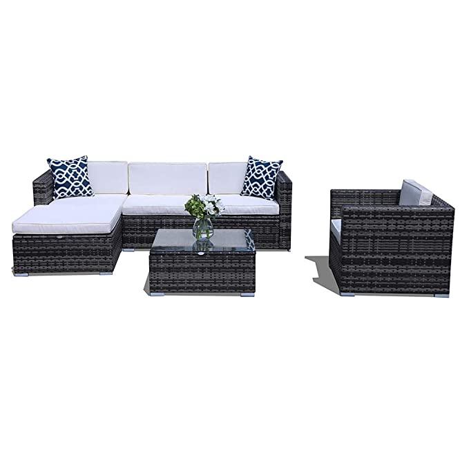 PATIORAMA Outdoor Sectional Furniture,6 Piece Patio Sectional Sofa Set with  Grey Wicker White Cushions,Two Blue Throw Pillows