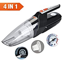 Car Vacuum Cleaner 4 in 1 Multifunctional Portable Car Vacuum and Tire Inflator DC 12 Volt 120W 4000Pa Wet & Dry Auto Vacuum with Tire Pressure Gauge 15 Ft Car Cigarette Lighter Power Cord Black