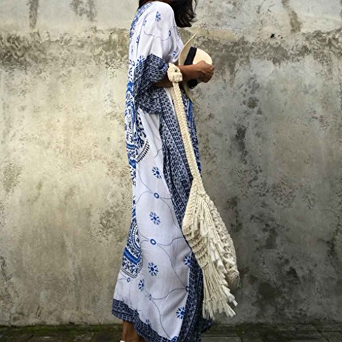 Longue Lache La Maxi Floral Dress Robe Imprimer Floral Plus Taille Maxi Bat Femmes Bleu Long Republe Manches Aq71Yx