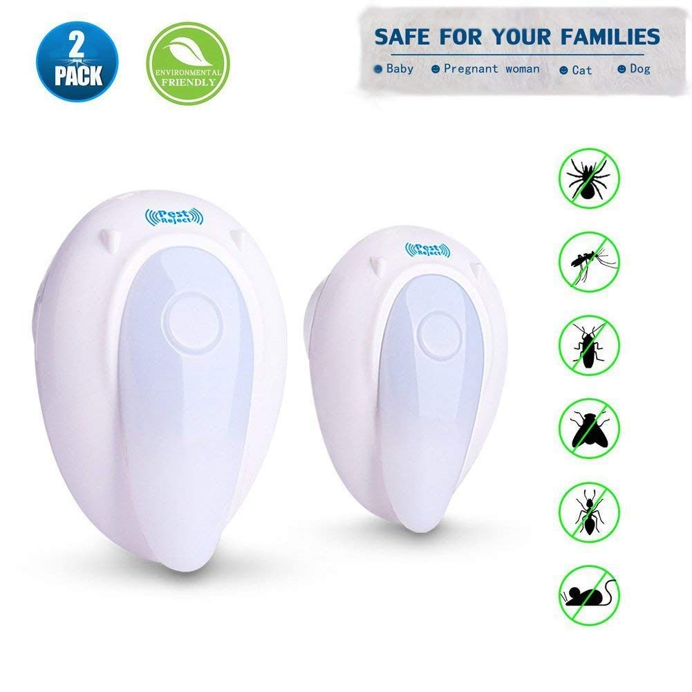 2013Newestseller Ultrasonic Pest Repeller, Electronic Bug Repellent Night Light Plug Electronic Pest Control Enhanced Ultrasonic Frequency Plug,Safe Human & Pets (2 Pack)