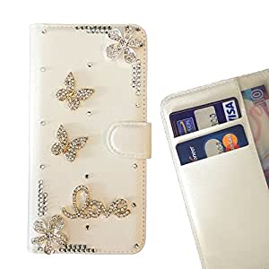 FOR Sony Xperia T3 / M50W Butterfly Love Flower Pink Bling Bling PU Leather Waller Holder Rhinestone - - OBBA