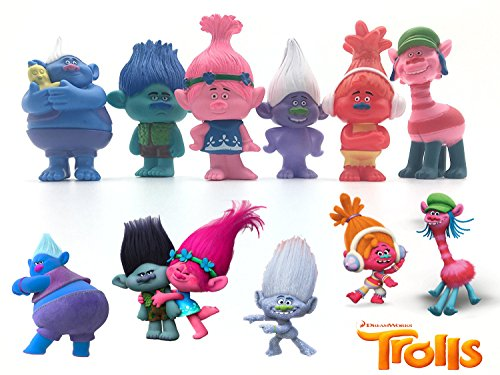 LessStress DreamWorks Trolls Movie Toy 3 inches Tall, Toys Set of 6 Trolls Action Figures Figurines - Trolls Princess Poppy, Branch, Cooper, Guy Diamond, DJ Suki, Biggie (Real Life Dinosaur Costumes)
