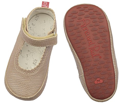 Anna und Paul Krabbelschuhe Lauflernschuhe Sandale mit Wölckchen Gummisohle pink/Pünktchen (M - 20-21 - ca. 13.3 cm - 12-16 Monate) Beige (sisal)