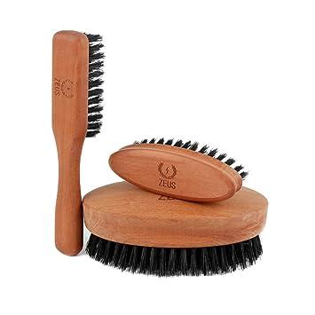 92463401e58b ZEUS Beard Brush Kit for Men - 100% Natural Boar Bristle Brush Set for  Softer and Fuller Beards and...