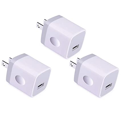 USB Wall Charger, Charger Adapter, VectorTech (3 Pack) 5V/1Amp Single Port Quick Charger Plug Cube for iPhone 7/6S/6S Plus/6 Plus/6/5S/5, Samsung ...