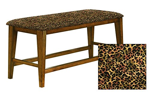 "Counter Height 25"" Tall Universal Bench in an Oak Finish Featuring a Padded Seat Cushion With Your Choice of an Animal Print Fabric Covered Seat Cushion (Cheetah Small Cotton) (Room For Small Dining Seating Banquette)"