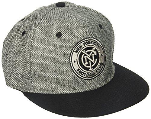 - adidas MLS New York City FC Men's Heathered Gray Fabric Flat Visor Flex Hat, Large/X-Large, Gray