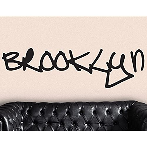 Stickerbrand urban vinyl wall art nyc new york city brooklyn graffiti tag wall decal sticker black 17 x 61 easy to apply removable