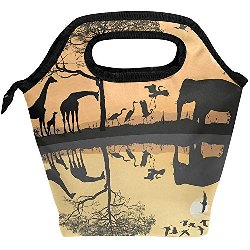 Savana Bag - Cloudhome Savana Giraffes Herons and Elephant Insulated Lunch Bag Outdoor Travel Picnic Carry Case Lunch Handbags Tote for Women Men Kids