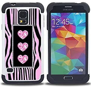 - heart zebra glitter jewel bling pink - - Doble capa caja de la armadura Defender FOR Samsung Galaxy S5 I9600 G9009 G9008V RetroCandy