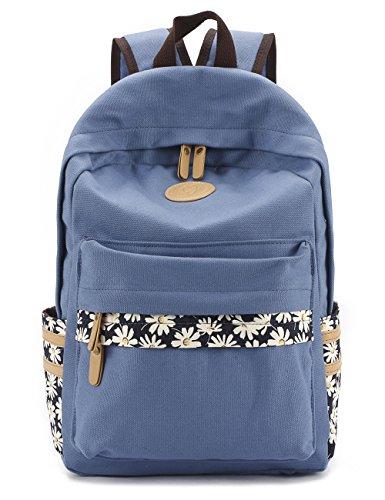 Leaper Canvas Laptop Backpack School Bag Travel Daypack Handbag Light Blue