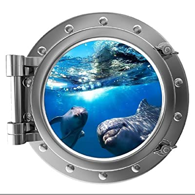 "12"" PortScape Instant Sea Porthole Window Dolphins 1 Wall Sticker Graphic Decal Kids Game Room Decor Art Cling NEW"