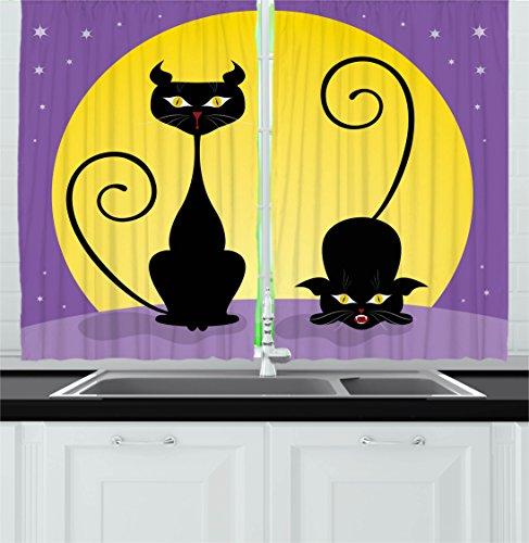 Ambesonne Cat Decor Kitchen Curtains, Two Black Kitties in front of Full Moon Starry Night Halloween Image, Window Drapes 2 Panels Set for Kitchen Cafe, 55W X 39L Inches, Violet Yellow Black -