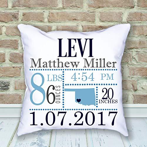 Dozili Birth Announcement Pillow Baby Keepsake Pillow Oklahoma Birth Place Hometown Personalized Pillow Baby Pillow Custom Pillow