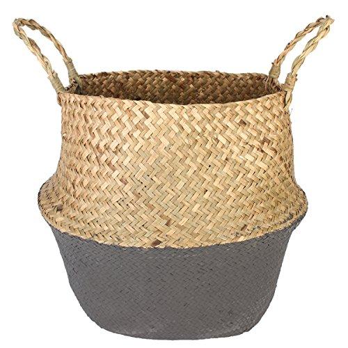 36 x 32 cm DIY New Model Seagrass Belly Basket Dipped Black Grey Storage Holder Plant Pot Bag Collection Garden Home Decor (Wicker Basker)