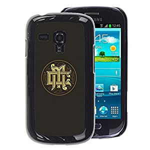 A-type Arte & diseño plástico duro Fundas Cover Cubre Hard Case Cover para Samsung Galaxy S3 MINI 8190 (NOT S3) (Initials Calligraphy Gold Medieval Logo Grey)